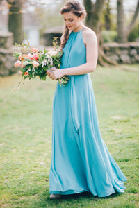 Blue Chiffon Halter Floor-Length Bridesmaid Dress With Sash