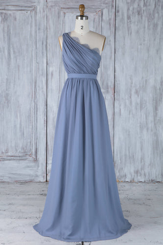 Blue Chiffon One-Shoulder Floor-Length Bridesmaid Dress With Lace
