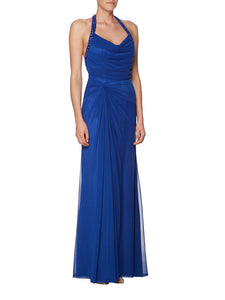 Blue Halter Beaded Draped Backless Sleek Chiffon Bridesmaid Dress