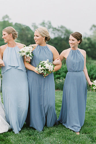 Blue Jewel Neck Chiffon Sweep Train Bridesmaid Dress With Sash