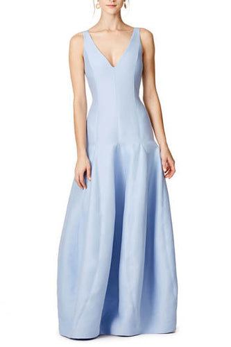 Blue Sleeveless Deep V Neck A-Line Floor Length Bridesmaid Dress