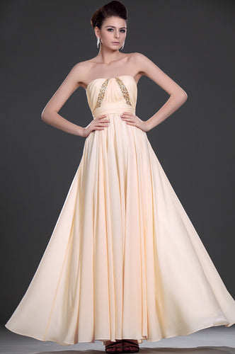 Blush Chiffon A-Line Open-Back Empire Long Dress With Sequins