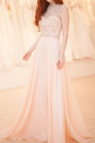 Blush Column Chiffon Long Dress With Sheer-Illusion Neckline And Delicate Bead-Work