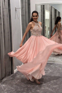 Blush Flowing Chiffon Floor-Length Dress With A Beaded Cut-In-Shoulders Bodice