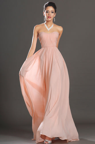 Blush Open-Back Strapless Ruched Column Chiffon Dress