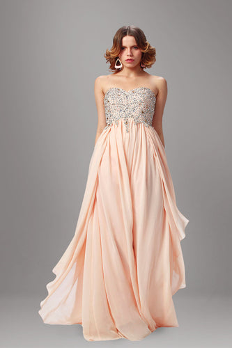 Blush Sweetheart Beaded Empire Long Dress With An Eye-Catching Chiffon Skirt