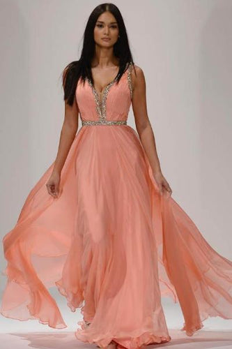 Blush V-Neck Empire Layered Chiffon Long Dress With Glittering Details