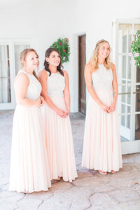 Blushing Pink Jewel Neck Floor-Length Pleated Chiffon Bridesmaid Dress With Lace Bodice