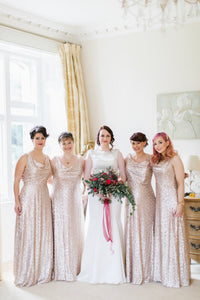 Blushing Pink Sequin Cowl Neck Floor-Length Column Bridesmaid Dress