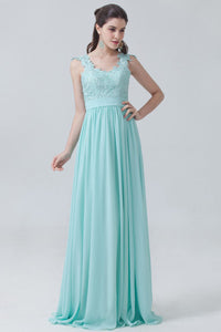 Bold Strapped Lace Bodice Empire Chiffon Bridesmaid Dress