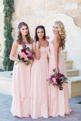 Bubblegum Sweetheart Strapless Chiffon Floor-Length Bridesmaid Dress With Layers