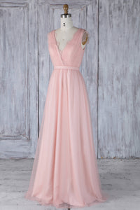 Bubblegum V-Neck Floor-Length Bridesmaid Dress With Lace