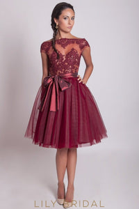 Burgandy Lace Tulle Bateau Neckline Illusion A-Line Bridesmaid Dress