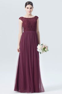 Burgundy Bridesmaid Dress With Cap-Sleeved Lace Bodice And Tulle Skirt