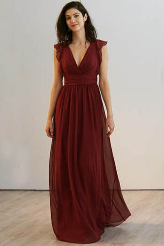 Burgundy Cap Sleeve Deep V Neckline Open Back Floor Length Bridesmaid Dress