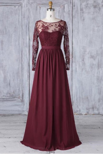 Burgundy Chiffon Jewel Neck Long Sleeve Floor-Length Bridesmaid Dress With Lace Illusion Bodice