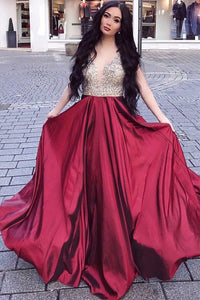 Burgundy Chiffon Plunging V-Neck A-Line Floor-Length Prom Dress With Sequin Bodice