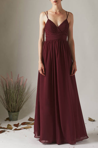 Burgundy Chiffon Spaghetti Strap Empire Waist Open Back Long Bridesmaid Dress With Sequins & Lace