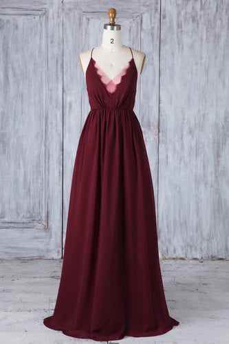 Burgundy Chiffon V-Neck Spaghetti Strap Floor-Length Bridesmaid Dress With Lace