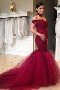 Burgundy Lace Off-The-Shoulder Sweetheart Neckline Tulle Trumpet Wedding Dress