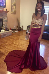 Burgundy Satin Sweetheart Strapless Court Train Mermaid Prom Dress With Lace