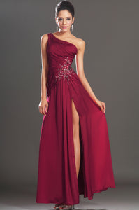 Burgundy Single-Shoulder Side-Slit Long Dress With Tonal Beads And Sequins