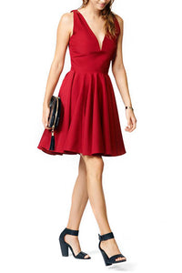 Burgundy Sleeveless Deep V Neckline A-Line Knee Length Bridesmaid Dress