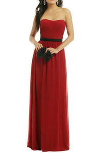 Burgundy Strapless Pleated Semi-Sweetheart Neckline Floor Length Bridesmaid Dress