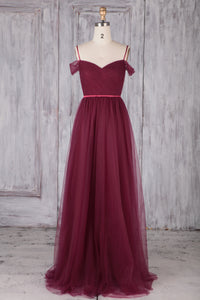 Burgundy Tulle Spaghetti Strap Off-The-Shoulder Backless Bridesmaid Dress With Sash