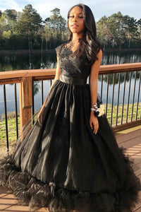 Cap Sleeve Bateau Neck A-Line Floor-Length Tulle Prom Dress With Lace Applique
