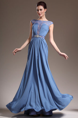 Cap-Sleeved Bateau Sheer-Illusion Empire Column Long Dress With A Beaded Belt