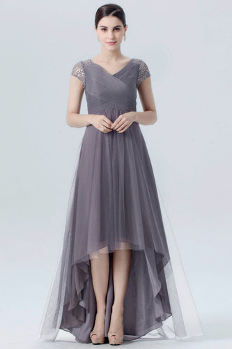 Cap-Sleeved Gray Tulle Hi-Lo Bridesmaid Dress With Beads