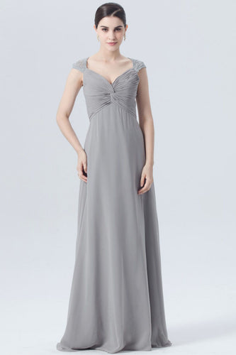 Cap-Sleeved Sweetheart Empire Gray Column Bridesmaid Dress