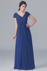 Cap-Sleeved V-Neck Ruched Empire Floor-Length Bridesmaid Dress