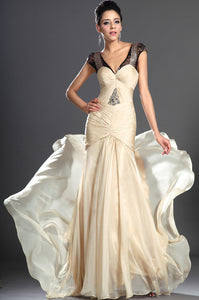 Captivating Champagne Low-Waist Ruched Cap-Sleeved Chiffon Dress