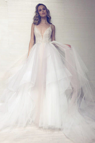 Captivating Fit-And-Flare Beaded Ruffled Tulle Wedding Dress With An Amazing Skirt