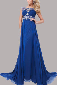 Captivating Sheer-Illusion Empire Long Dress With Glittering Beads And A Sweep Train