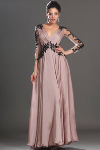Captivating Sheer-Illusion Long-Sleeved Champagne Dress With Black Lace Appliques