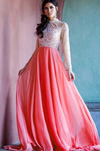 Champagne Blush Long-Sleeved Beaded Floor-Length Chiffon Dress