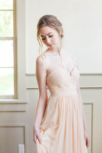 Champagne Strapless Pleated Sweetheart Neckline A-Line Floor Length Bridesmaid Dress