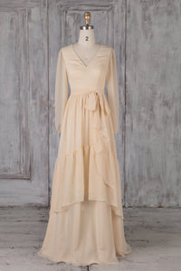 Champagne V-Neck Long Sleeve Layered Chiffon Bridesmaid Dress With Sash
