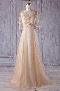 Champagne 1/2 Sleeve V-Neck Tulle Sweep Train Bridesmaid Dress With Embroidery
