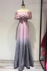 Glittering Gradient Color Ruffles Off Shoulder Short Sleeves Floor-Length Prom Dress