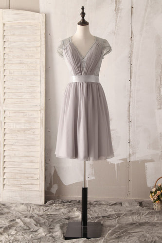 Elegant Lace Illusion V-Neck Short Sleeves Short Solid Ruched Chiffon Bridesmaid Dress