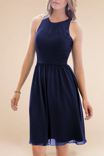 Chic Scoop Neck Sleeveless Zipper-Up Short Solid Sheath Chiffon Bridesmaid Dress