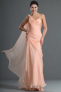 Chiffon Blush Single-Shoulder Long Dress With Back Streamer