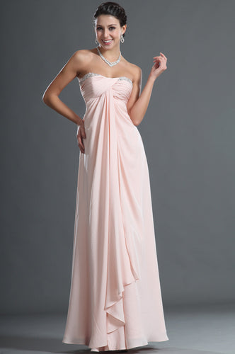 Chiffon Blush Sweetheart Empire Comfortable Column Dress