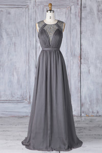 Chiffon Round Neck A-Line Sweep Train Bridesmaid Dress With Embroidery
