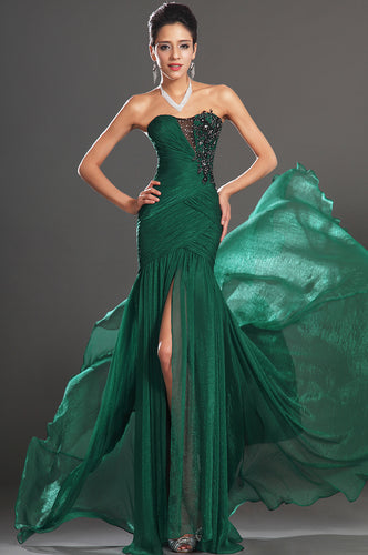 Chiffon Sheath Ruched Fit-N-Flare Evening Long Dress
