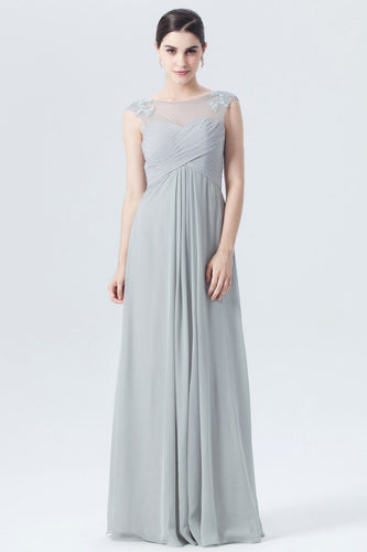 Column Illusion Empire Gray Appliqued Bridesmaid Dress